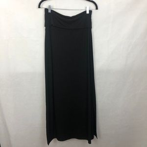 New WHBM Black Maxi Skirt Side Slits Small